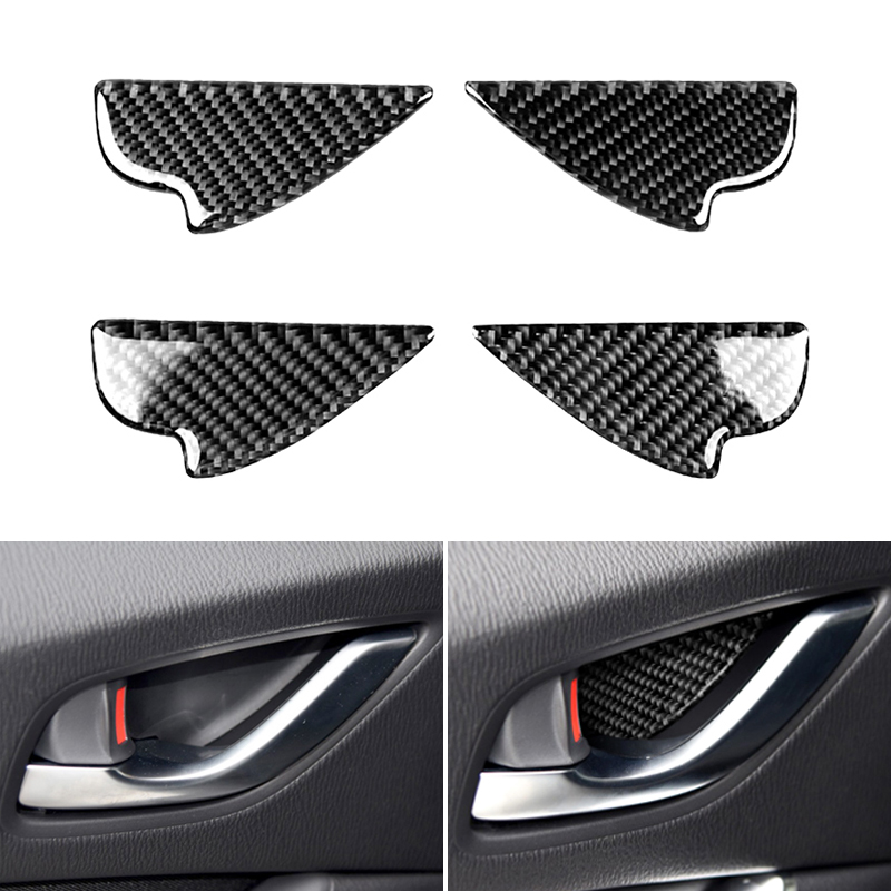 4PCS Real Carbon Fiber Car Styling Interior Door Pull Handle Frame Cover Trim For <font><b>Mazda</b></font> 3 6 <font><b>CX</b></font>-3 <font><b>CX</b></font>-<font><b>5</b></font> <font><b>CX</b></font>-8 <font><b>CX</b></font>-9 <font><b>2017</b></font> 2018 image
