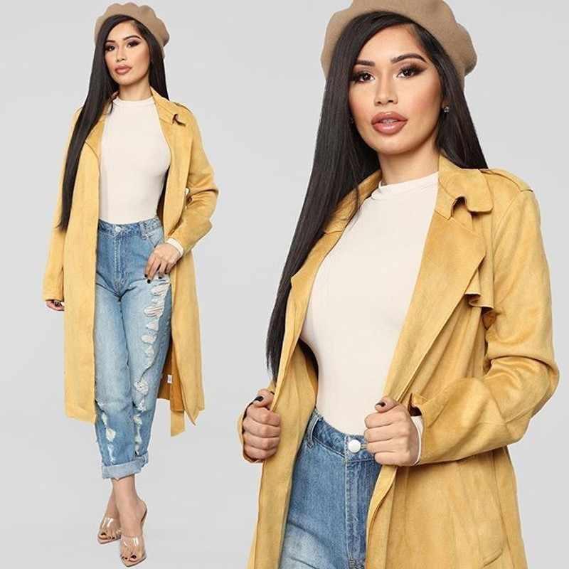 Ohvera замшевое длинное пальто для женщин Зимний женский тренчкот женский кардиган ветровка осень 2018 пальто