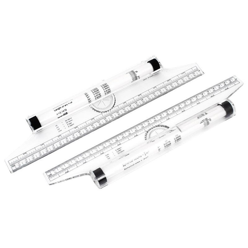 Art Drawing Tool Squares Angle Parallel Line Rolling Ruler 30 Cm 2 Pieces