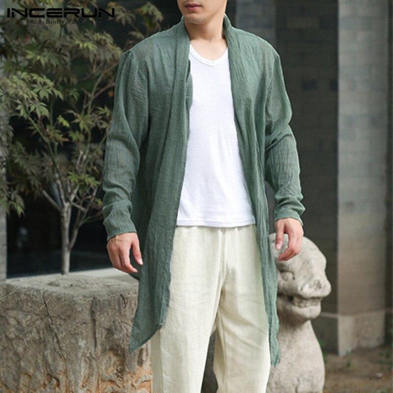 INCERUN Vintage Mens Long Jackets Outwear Irregular Hem Cloak Male Cloak Coat   Trench   Windbreaker Hombre Autumn Fashion Cardigan