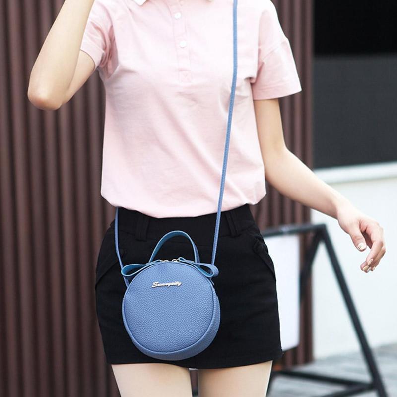Slung Mobile Phone Bag 2019 New Summer Fashion PU Small Round Bag for Female Personality Shoulder Bag Litchi Rhyme Bag - 4