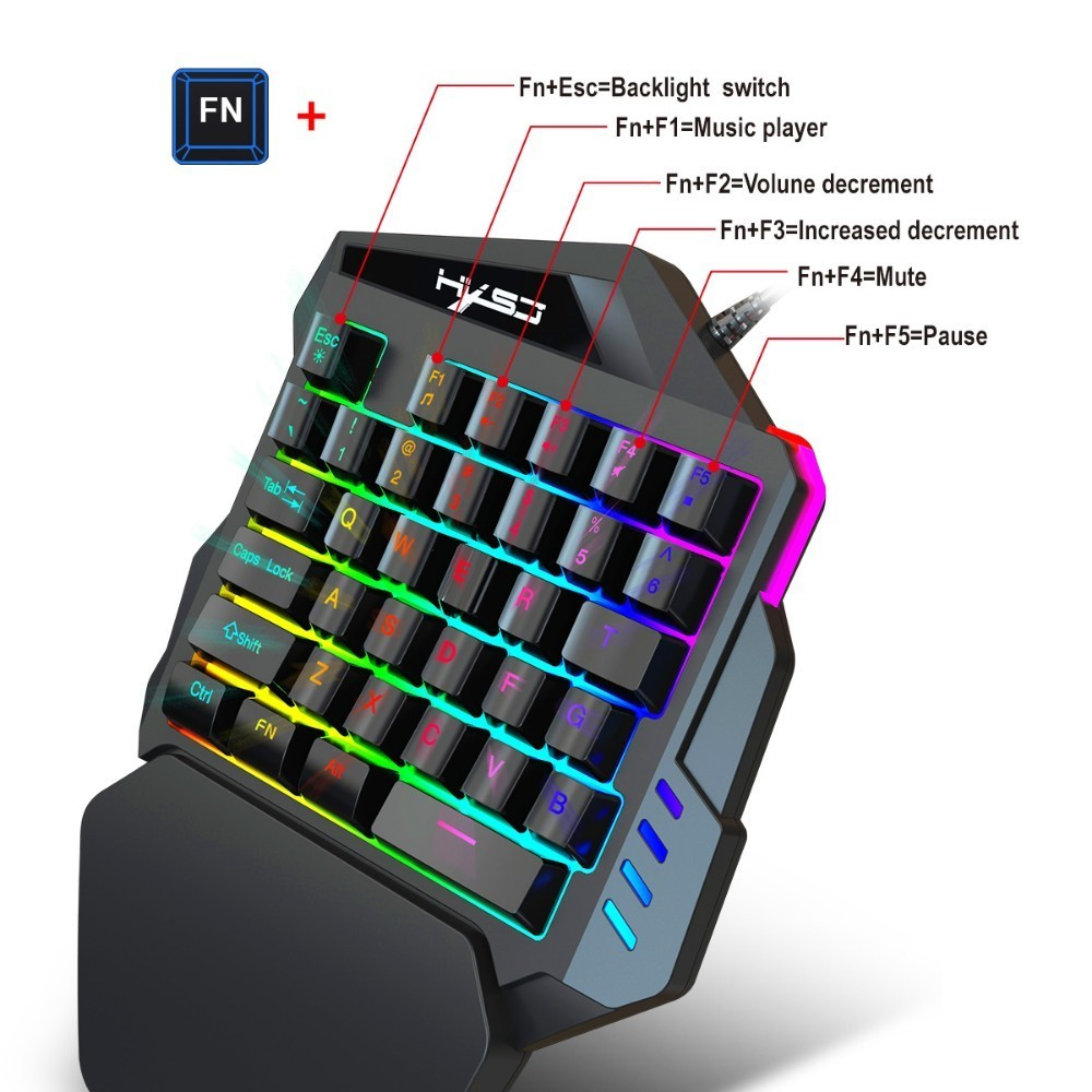 Image 3 - New Arrival V100 1.6m Wired Gaming Keyboard Mechanical Feel Backlight 35 Keys One handed Keyboard Black For Pc Mini Keyboard-in Keyboards from Computer & Office