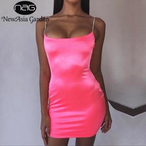 Image 1 - NewAsia robe en Satin moulante Sexy pour femmes, tenue de soirée, boîte de nuit, paillettes roses, Mini, vêtements de soirée