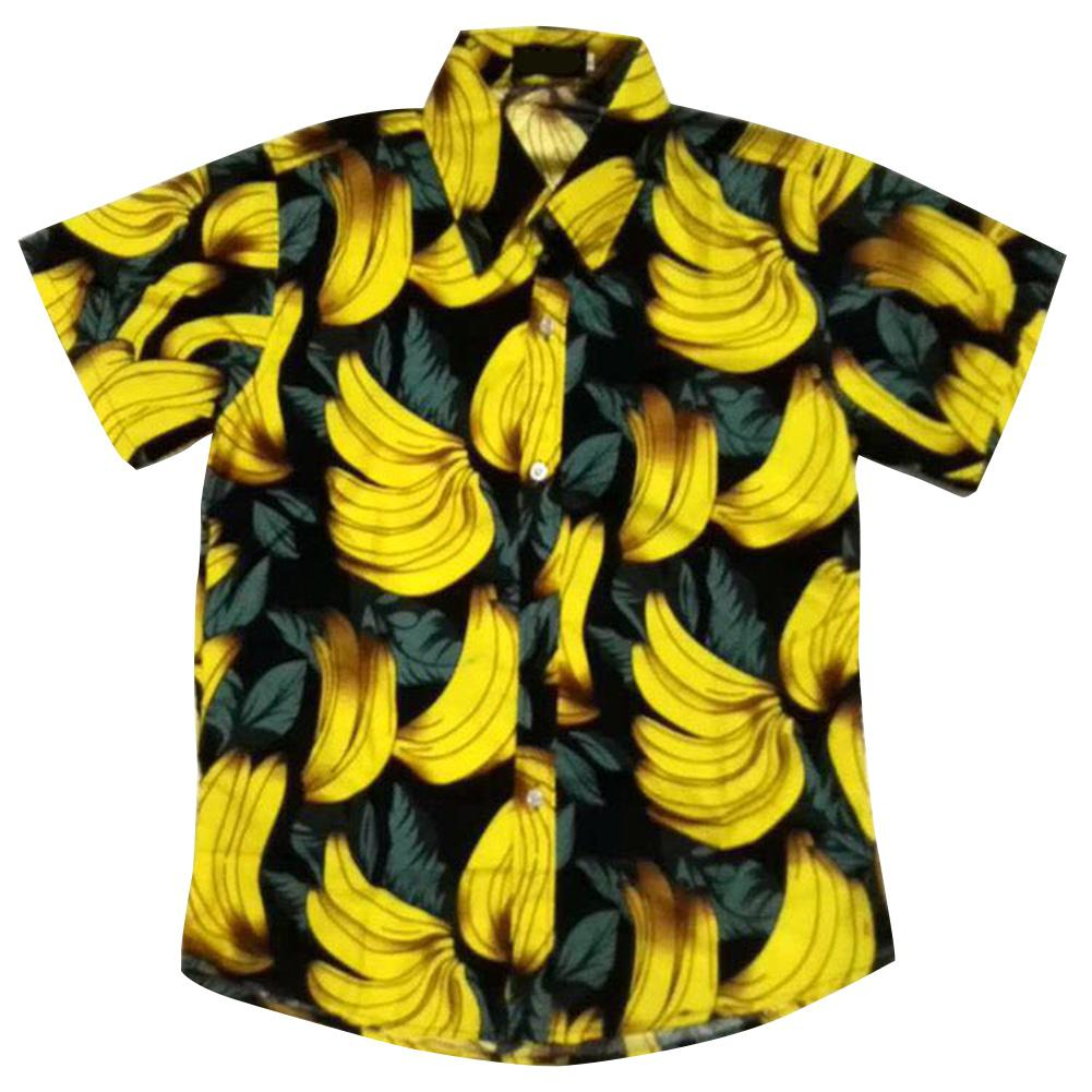 MISSKY Men Women Lover Shirt Summer Casual Banana Printed Beach Shirt Short Sleeve Female Male Tops For Beach Hawaiian