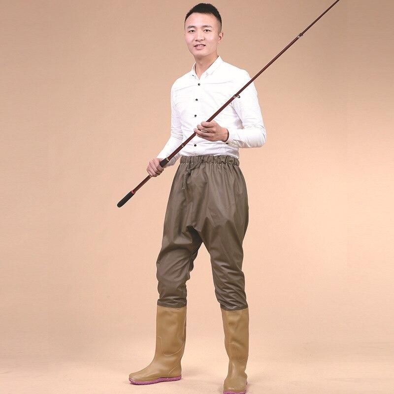 Pêche en plein air imperméable respirant Waders pantalon taille élastique chasse attraper poisson Wading pantalon avec bottes de pluie antidérapantes