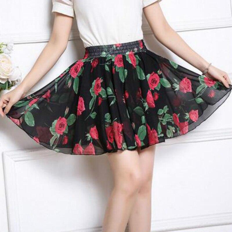 Summer 2018 chiffon women skirt flower printed korean style skirts women high waist beach short skirt plus size women clothing