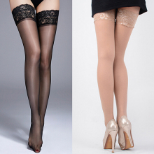 Сексуальные женские высокие чулки с кружевным верхом и силиконовым ремешком, противоскользящие чулки для ночного клуба, женские эротические чулки