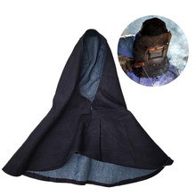 Portable Denim Blue Flame Retardant Welding Hood Head Neck Full Protective Hood Welder Safety Cover Shawl Cap Washable leather welder aprons reflective tape fr cotton coverall welding clothing flame retardant cotton leather welding jackets