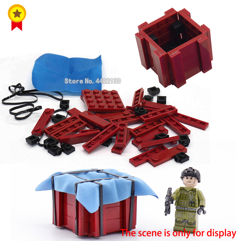 ww2 military Building Blocks Figures Mini Accessories equipment supply Airdrop box battlefield city model toy gif with LEGOingls