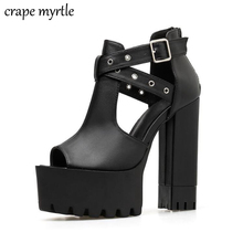 Women's Gothic Sandals Hollow Out Chunky Heel Platform Shoes Woman Sexy Rivets Summer Black Leather Ladies Party Shoes YMA737 цены
