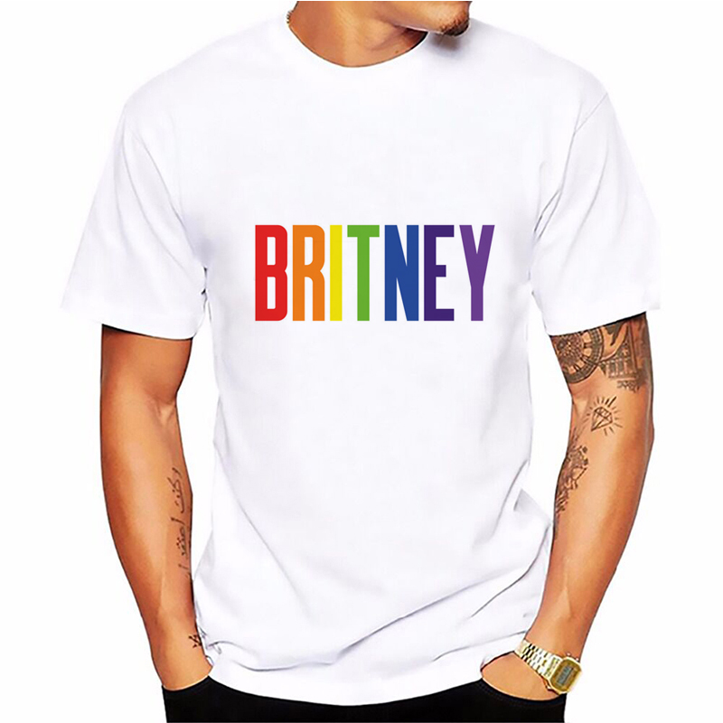Britney Spears T Shirt Men Summer Hipster BRITNEY Letter Print T Shirt Boy Short Sleeve With White Color Fashion Top Tees