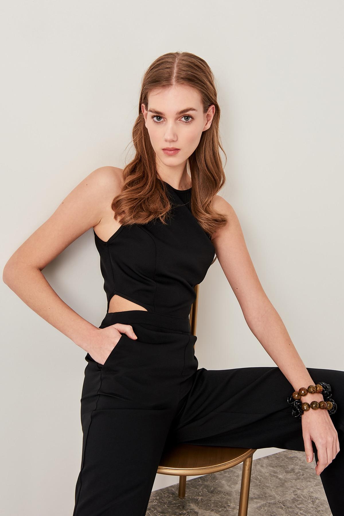 Trendyol Black Waist Decolletage Jumpsuits TWOSS19LJ0139