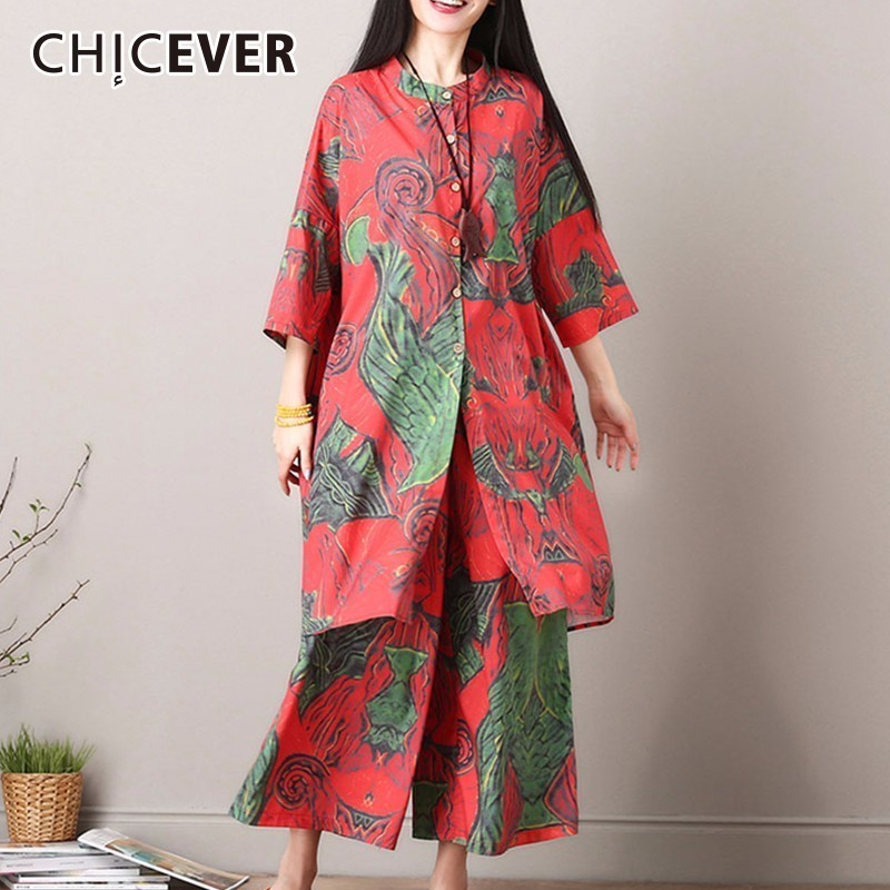CHICEVER 2019 Two Piece Set Summer Costumes For Women Three Quarter Batwing Sleeve Long Top Print