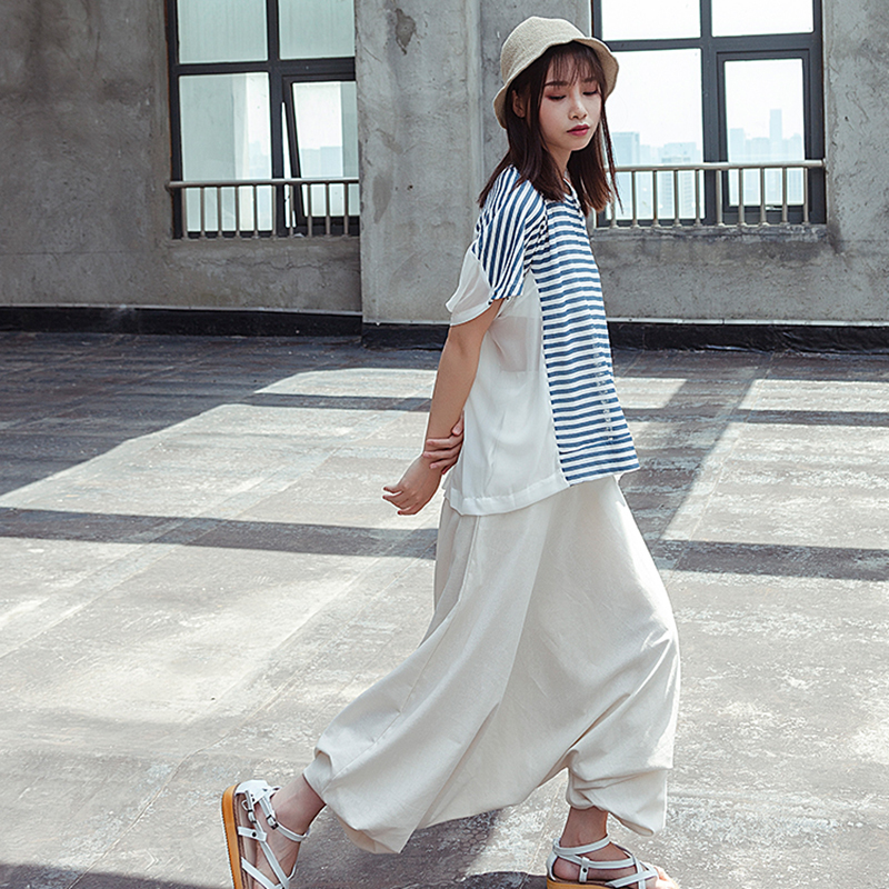 Color Long Woman Loose Solid High Irregular Cross Waist Pleated Elastic New Spring Personality eam Shown pants Stylish 2019 As Li125 zx10E0
