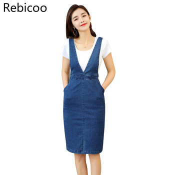 цена Women fashion slim long jean skirt overalls denim overalls онлайн в 2017 году