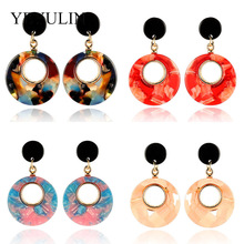 New Trendy Large Acrylic Exaggerated Round Drop Earrings For Women Geometric Big Acetic Acid Resin Dangle Earrings Girl Gift