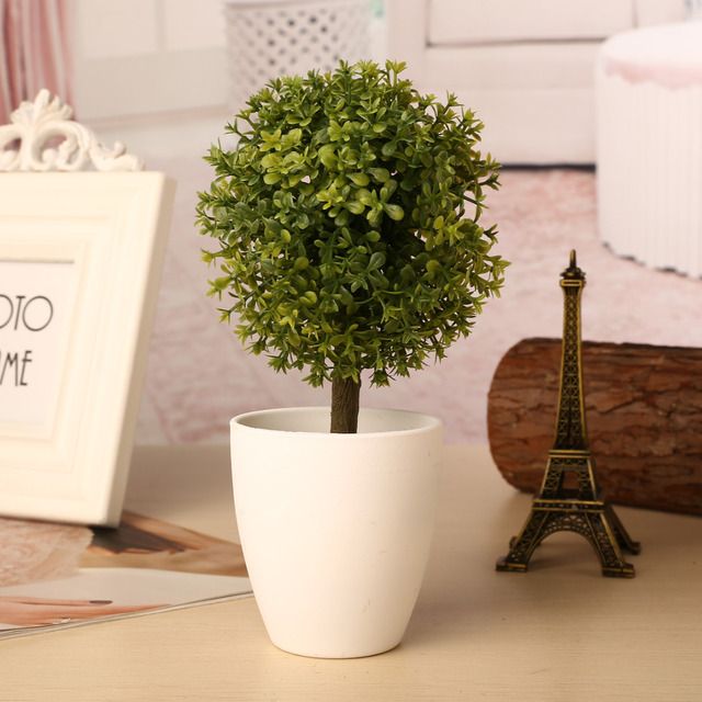 1pc Artificial Topiary Tree Potted Ball Plants Garden Outdoor Bonsai Home Decoration Small Ornaments