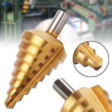 New Titanium Coating Step Drill Gold 10-45mm HSS Triangle Shank TiN Stepped Peeling Conical Drilling Bits Power Tools
