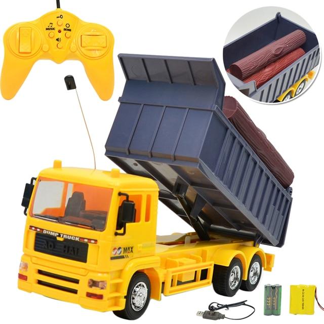 1:24 8 Channel RC Truk Teknik Model Mobil Transportasi Kereta Dumper Kendaraan Konstruksi dengan Musik Ringan Mainan Remote Control