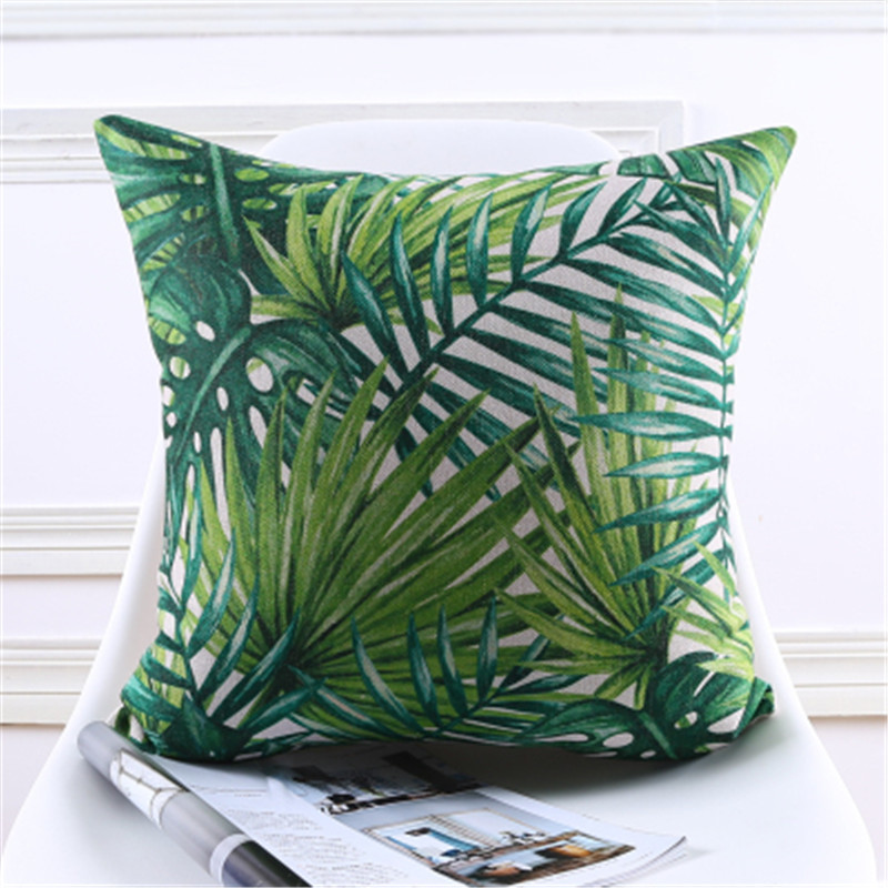 Decorative Throw Pillow Cover Case Summer Green Leaf Cotton Linen Seat Waist Cushion Cover For Sofa Home Decor House de Coushion in Cushion Cover from Home Garden