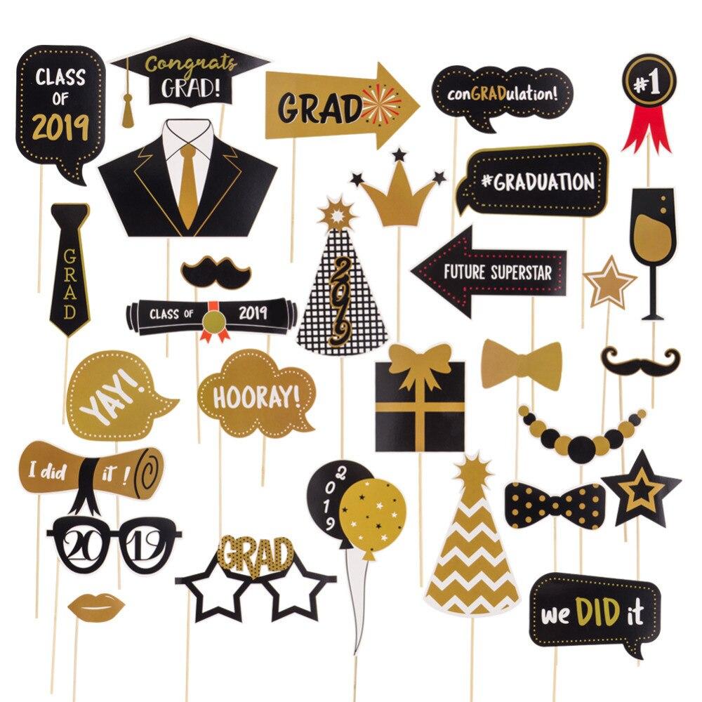 30pcs Graduation Party Photobooth Props Class Of 2019 Congrats Grad Black Gold High School Senior College Prom Grad Party