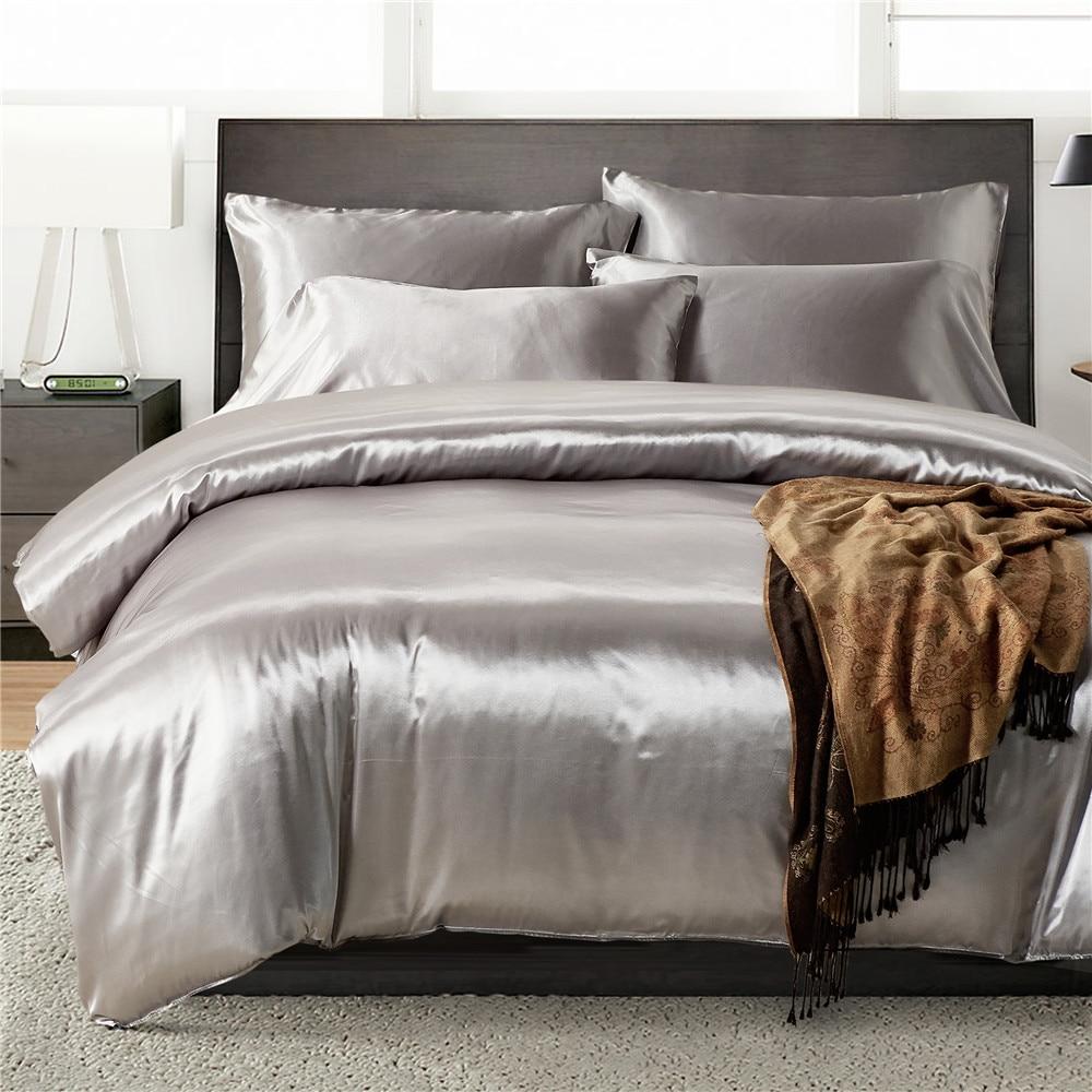 2pcs/3Pcs/4pcs Nordic Style Silk Bedding Set Queen Size Satin Grey Duvet Cover Solid Color Set Simple Beautiful Bedclothes 44