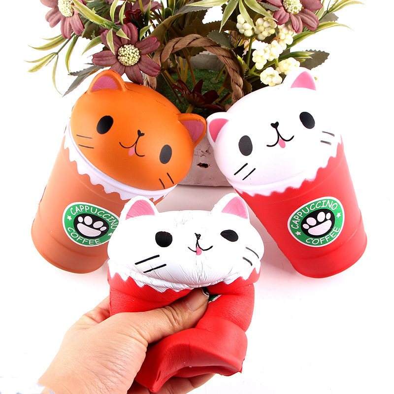 Anti Stress 14cm Cut Cappuccino Squishies Coffee Cup Cat Scented Slow Rising Squeeze Collection Squishes Gift Toy in Squeeze Toys from Toys Hobbies