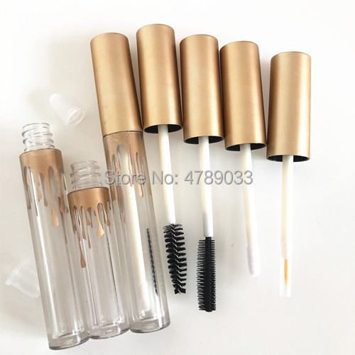 10/30/50pcs 2.5ml 3.5ml Empty Lip Gloss Tubes, DIY Clear Mascara Tubes With Gold Cap,Cosmetic Eyeliner Refillable Containers
