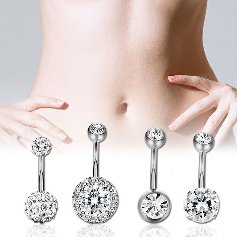 Home Hearty 4pcs Double Side Navel Belly Button Ring Surgical Steel Bright Crystal Gem Ball Piercingbar Round Navel Rings Sexy Jewellery Curing Cough And Facilitating Expectoration And Relieving Hoarseness