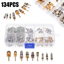 134pcs/set A/C Valve Core Assortment Kit R12 R134A Copper Brass Air Conditioning For Buick Honda Toyota