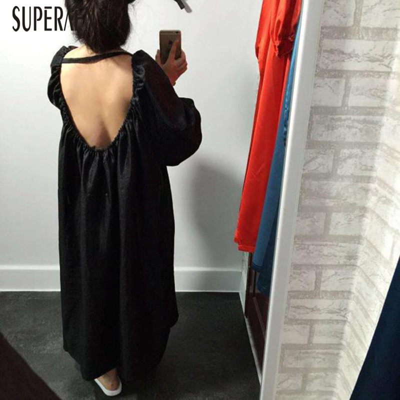 SuperAen Puff Sleeve Women Long Dress Solid Color Wild Casual Robe Female Loose Pluz Size Spring