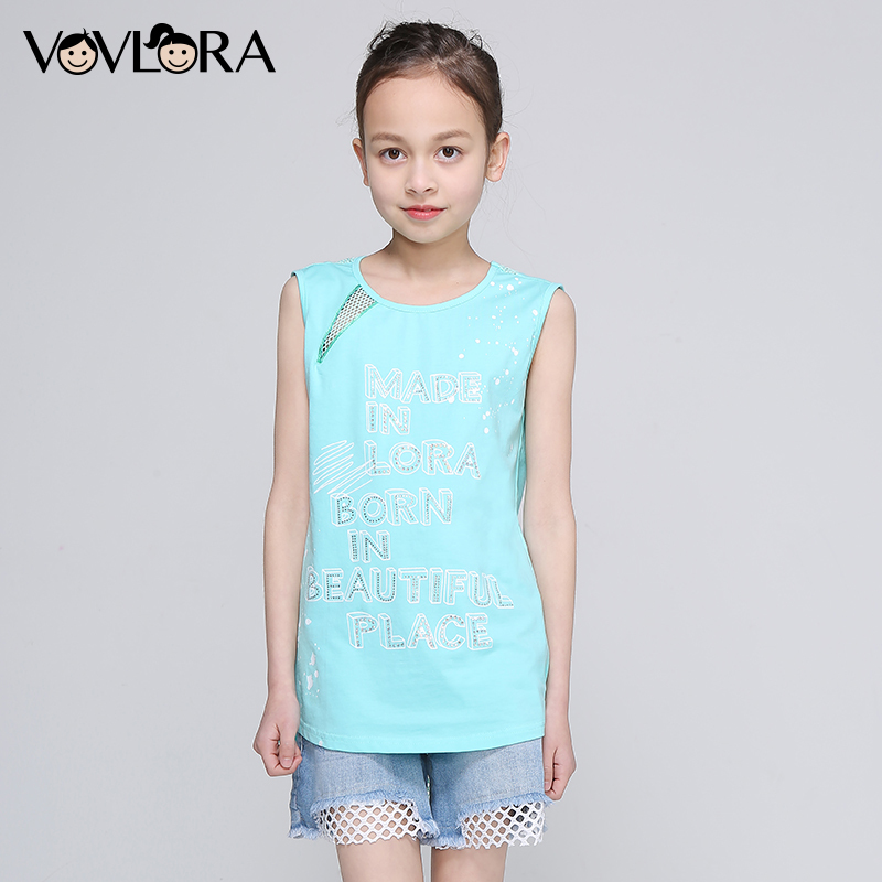 Girls Summer Tops Patchwork Mesh Print Letter Kids T Shirts Active Sleeveless Children Clothing 2018 Size 7 8 9 10 11 12 Years letter print raglan hoodie