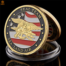 Nice Souvenir Coin US Sea Land Air Seals Team Gold Plated Metal USA Department Of The Navy Military Challenge Coins