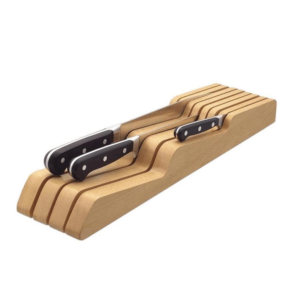 Suporte De Armazenamento Faca de Cozinha Titular Rack de Gaveta de madeira Sólida Gaveta Acessórios Ferramenta Faca Titular