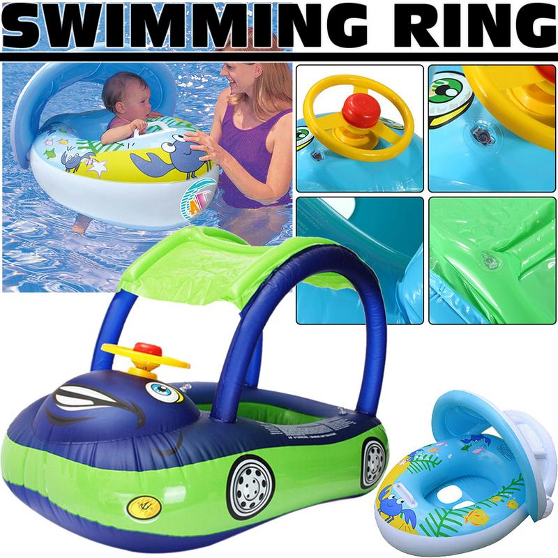 High Quality Safety Steering Wheel Sunshade Baby Infant Swimming Float Inflatable Adjustable Sunshade Seat Boat Ring Swim Pool