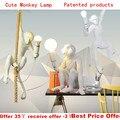 Скандинавская лампа в форме обезьяны  светодиодные подвесные светильники  промышленное освещение  пеньковая веревка  винтажная светодиодн...