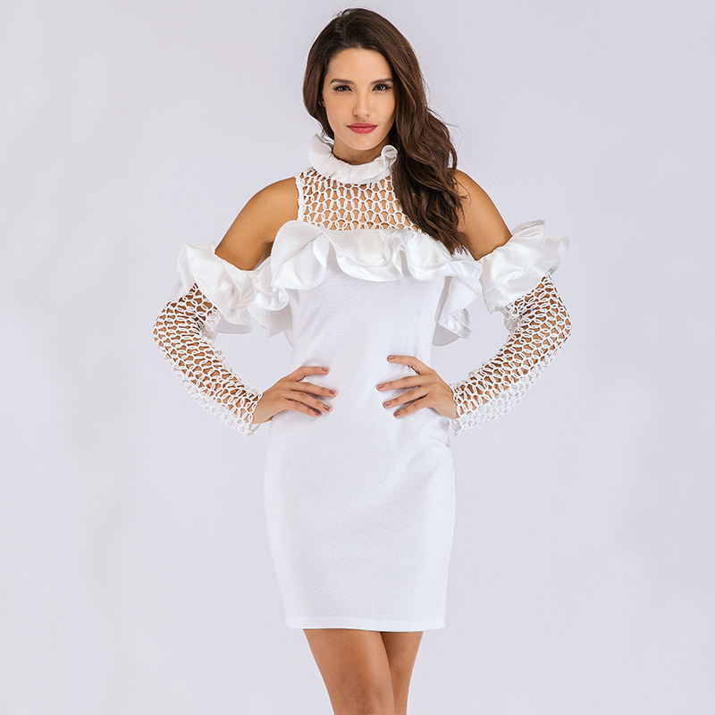 MUXU white sexy transparent dress mesh patchwork rufflebodycon woman clothes short pencil dresses free shiping vestido ukraine in Dresses from Women 39 s Clothing