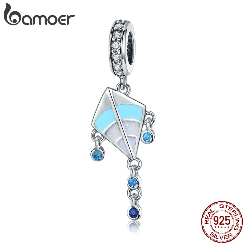 BAMOER Authentic 925 Sterling Silver Kite Pendant Color Enamel Charms Fit Girls Bracelets Jewelry Making Children Gift SCC937BAMOER Authentic 925 Sterling Silver Kite Pendant Color Enamel Charms Fit Girls Bracelets Jewelry Making Children Gift SCC937