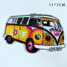 PGY Cartoon Bus Colour Peace Iron On Patches for Clothing Automobile Back Rubber Embroidery Appliques Embroidered Badges