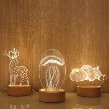 Деревянная база 3D светодиодный Настольный светильник Медуза Сова ночной Светильник USB питание светильник деревянный+ Смола мульти-дизайн лампа для детской спальни
