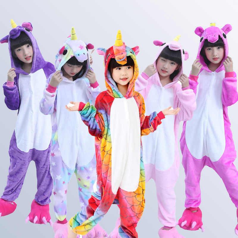 Детская Пижама для мальчиков для девочек с единорогом пижамы фланелевые  детские пижамы набор животных детская одежда ff4ca9e082319