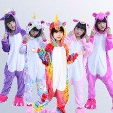Купить с кэшбэком Kigurumi Children's Pajamas for Boys Girls Unicorn Pajamas Flannel Kids Stich Pijamas Set Animal Sleepwear Winter Onesies 4-12