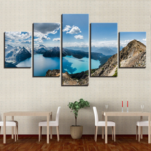 Painting Poster Modular 5 Pieces Mountain Lake Blue Sky White Cloud Scenery Picture HD Print On Canvas Frame Decor Home Wall Art
