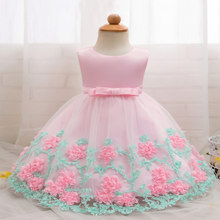Girls Sleeveless Dress Baby Flower Princess Dresses Mesh Tutu Dress Kids Clothes 0-2 Years