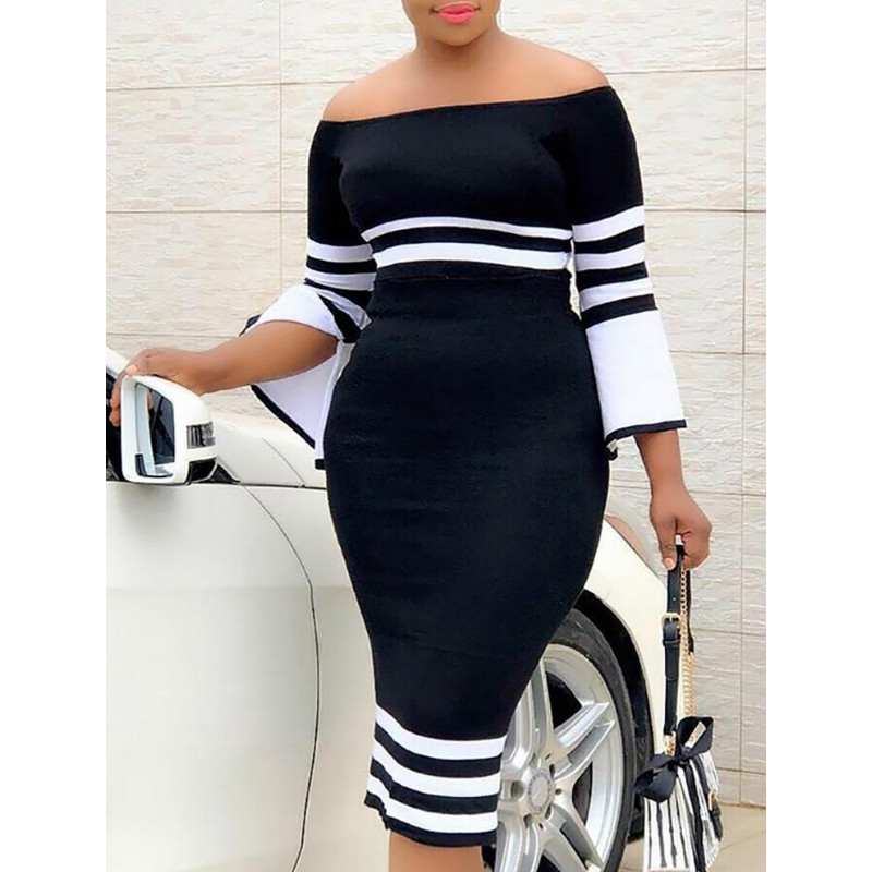 Women dress Long Sleeve Striped Off Shoulder Evening casual Party cotton Bodycon Dresses one piece