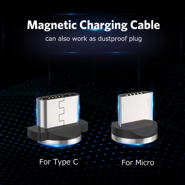 USLION Magnetic Micro USB Cable Fast Charging USB Type C Cable Magnet Charger Data Charge Cable Cord For Iphone 7 Samsung Xiaomi