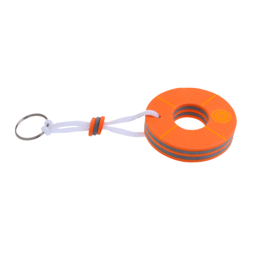 1 Pcs Yachting Boating Rafting Buoyant Floating Keychain Keyring Key Ring Buoy Shape Orange