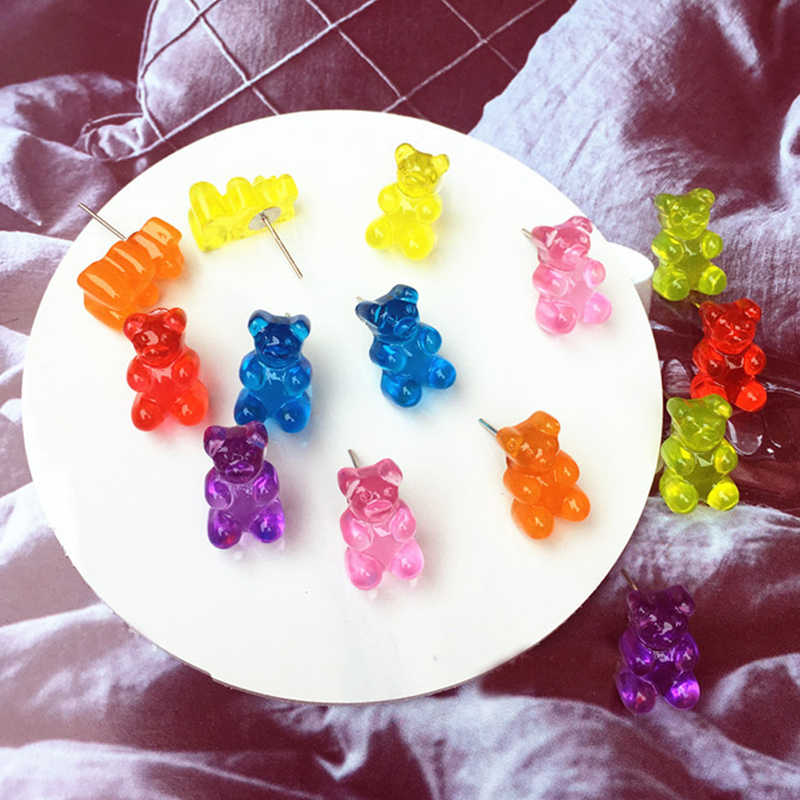 Candy Color Animal Resin Gift Colorful Girl Jewelry Bear Lovely Funny Jewelry Cartoon Earring Cute Women