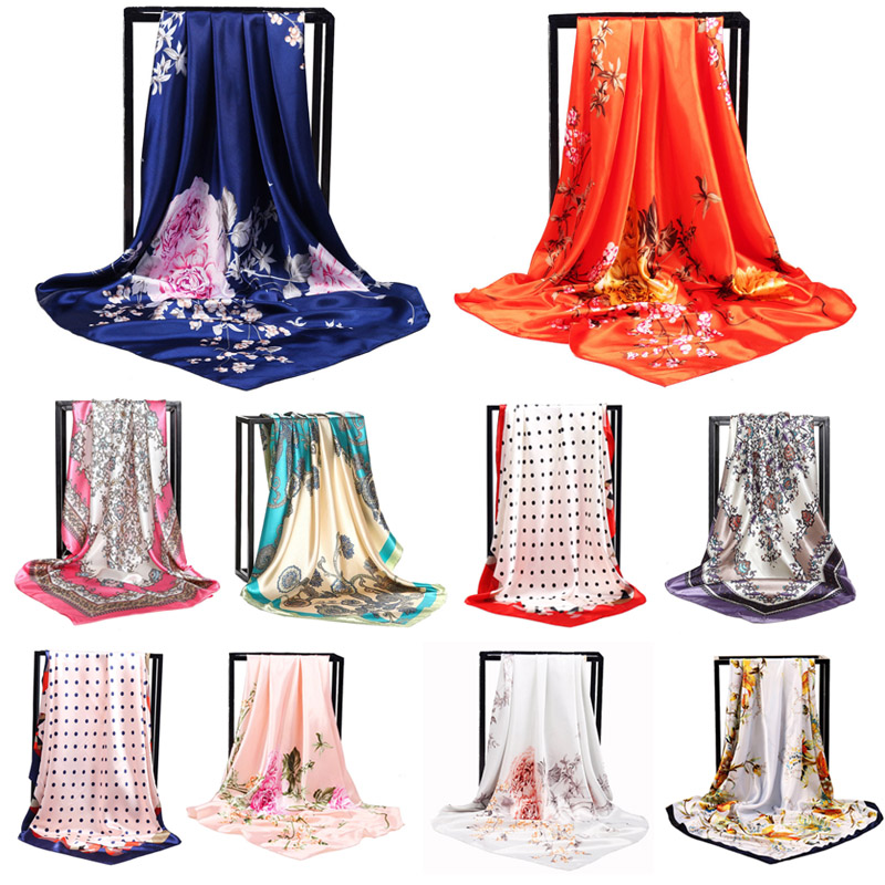 Large size <font><b>90</b></font> * 90cm fashion elegant ladies scarf satin Foulard shawl silk hot high quality headscarf women's accessories image