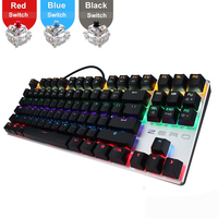Metoo gaming Mechanical Keyboard 87/104 keys usb Wired keyboard blue/red/black switch Backlit Keyboard Hebrew/Russian/Spanish